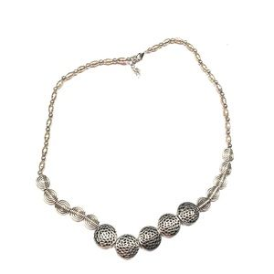 NWT Pewter Beaded Necklace Adjustable Closure